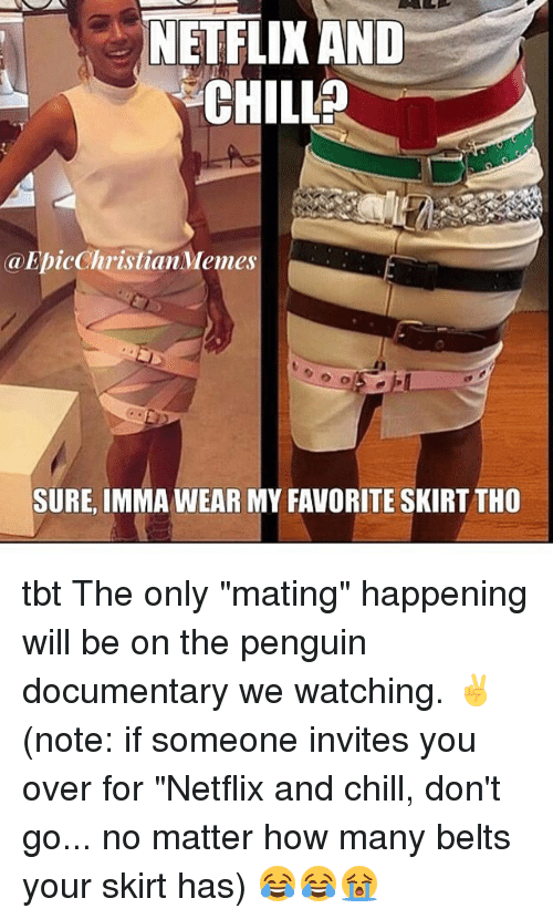 "Netflix And Chilling: NETFLIX AND  CHILL  a EpicChristianMemes  SURE, IMMAWEAR MY FAVORITE SKIRT THO tbt The only ""mating"" happening will be on the penguin documentary we watching. ✌️ (note: if someone invites you over for ""Netflix and chill, don't go... no matter how many belts your skirt has) 😂😂😭"