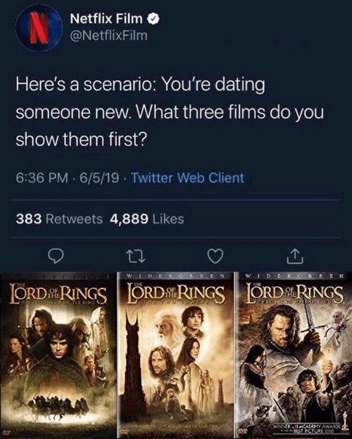 films: Netflix Film  NetflixFilm  Here's a scenario: You're dating  someone new. What three films do you  show them first?  6:36 PM 6/5/19 Twitter Web Client  383 Retweets 4,889 Likes  WLDES  wDESG  ORDRINGSORDRINGSORDRINGS  THE  POF TE RIN  WINNER ACADEMY AWAD  BEST PCTURE 150