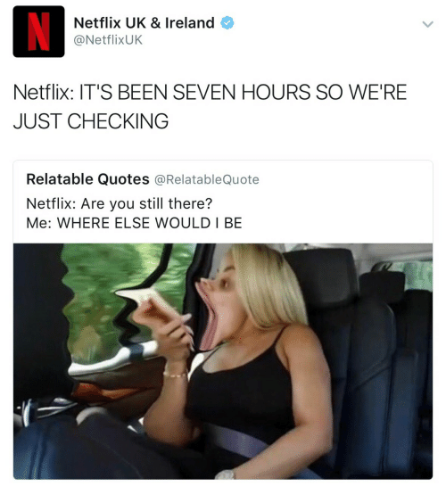 Netflix, Ireland, and Quotes: Netflix UK & Ireland  @NetflixUK  Netflix: IT'S BEEN SEVEN HOURS SO WE'RE  JUST CHECKING  Relatable Quotes @RelatableQuote  Netflix: Are you still there?  Me: WHERE ELSE WOULD I BE