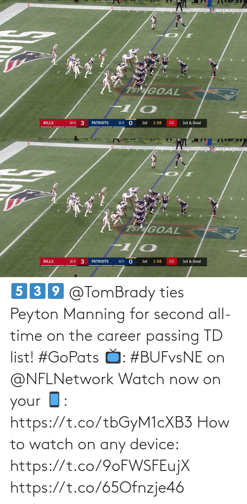 Peyton: NETWJRI  7'sPaGOAL  10-4 3  PATRIOTS  BILLS  1st  1:58  03  1st & Goal  11-3   NETWORKC  11  7'SP&GOAL  10-4 3  1st & Goal  11-3 0  BILLS  PATRIOTS  1:58  03  1st 5️⃣3️⃣9️⃣  @TomBrady ties Peyton Manning for second all-time on the career passing TD list! #GoPats  📺: #BUFvsNE on @NFLNetwork Watch now on your 📱: https://t.co/tbGyM1cXB3  How to watch on any device: https://t.co/9oFWSFEujX https://t.co/65Ofnzje46