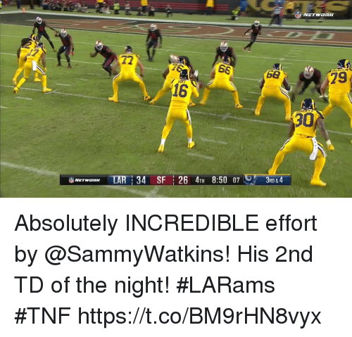 Memes, 🤖, and Network: NETWORK  72  68  79  16  30  iiblAErwaRK TAR | 34 SFI 26 4TH 8:50 07レアー  3RD &4 Absolutely INCREDIBLE effort by @SammyWatkins!  His 2nd TD of the night! #LARams #TNF https://t.co/BM9rHN8vyx