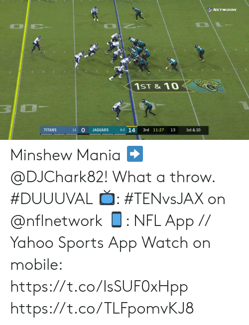 jaguars: NETWORK  NO  1ST & 10  0-2 14  1-1 0  3rd 11:27  1st & 10  TITANS  JAGUARS  13 Minshew Mania ➡️ @DJChark82! What a throw. #DUUUVAL  📺: #TENvsJAX on @nflnetwork 📱: NFL App // Yahoo Sports App Watch on mobile: https://t.co/IsSUF0xHpp https://t.co/TLFpomvKJ8
