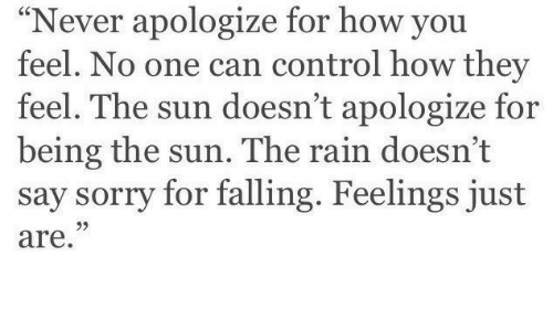 "Sorry, Control, and Rain: ""Never apologize for how you  feel. No one can control how they  feel. The sun doesn't apologize for  being the sun. The rain doesn't  say sorry for falling. Feelings just  are.  95"