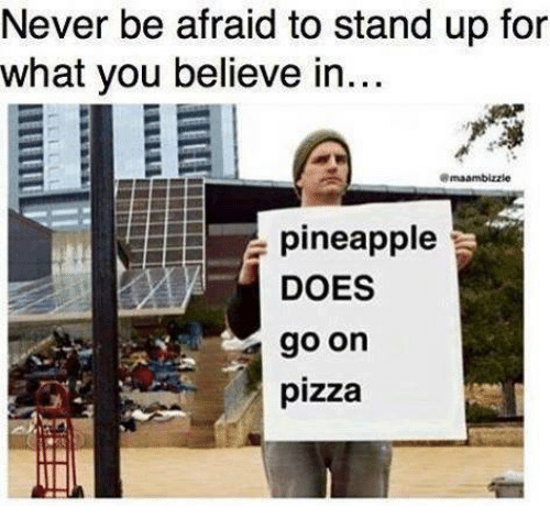 Dank, Pizza, and Pineapple: Never be afraid to stand up for  what you believe in...  pineapple  DOES  go on  pizza