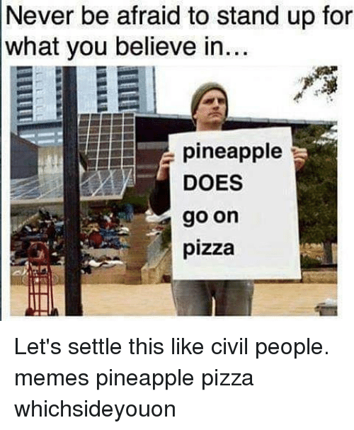 People Memes: Never be afraid to stand up for  what you believe in...  pineapple  DOES  go on  pizza Let's settle this like civil people. memes pineapple pizza whichsideyouon
