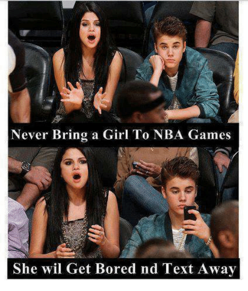 Nba Games: Never Bring a Girl To NBA Games  She wil Get Bored nd Text Away