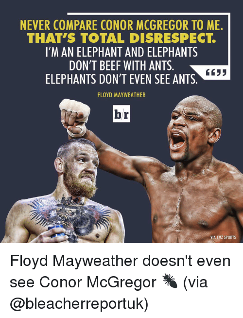 tmz sports: NEVER COMPARE CONOR MCGREGOR TO ME  THAT S TOTAL DISRESPECT  I'M AN ELEPHANT AND ELEPHANTS  DON'T BEEF WITH ANTS  6633  ELEPHANTS DON'T EVEN SEE ANTS  FLOYD MAYWEATHER  br  VIA TMZ SPORTS Floyd Mayweather doesn't even see Conor McGregor 🐜 (via @bleacherreportuk)