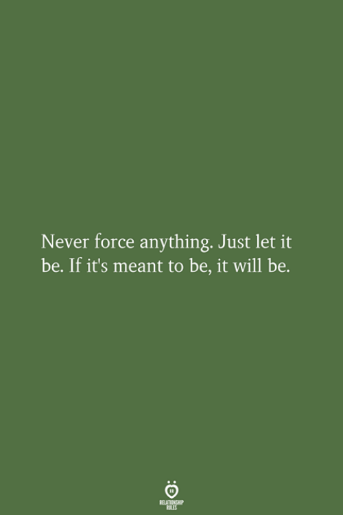 Never, Let It Be, and Force: Never force anything. Just let it  be. If it's meant to be, it will be.  RELATIONSHIP  LES