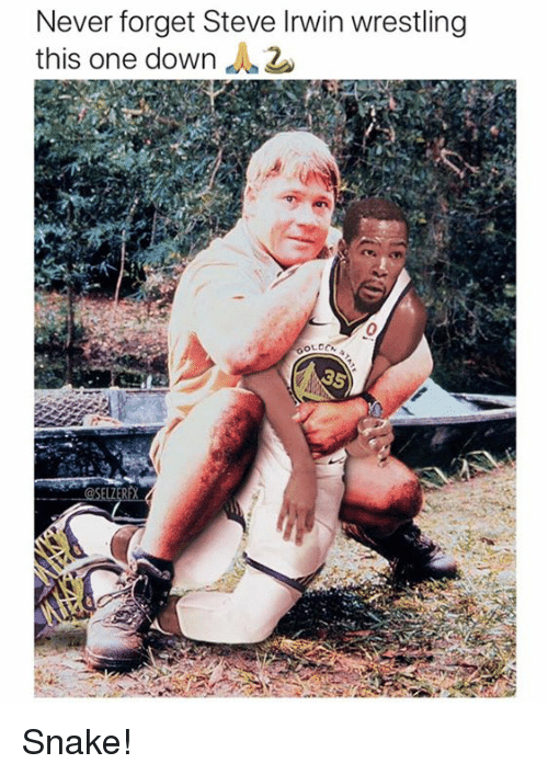 Steve Irwin, Wrestling, and Snake: Never forget Steve Irwin wrestling  this one down Snake!