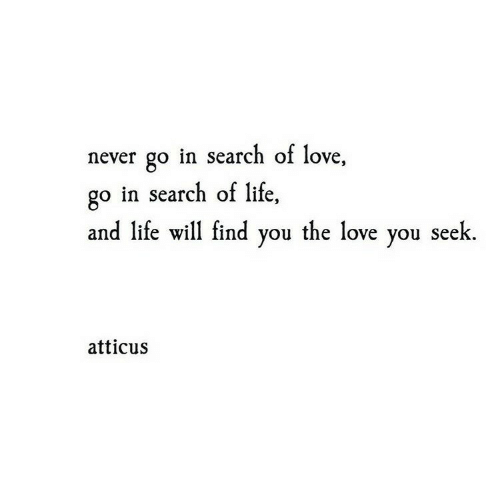 Go In: never go in search of love,  go in search of life,  and life will find you the love you seek  atticus