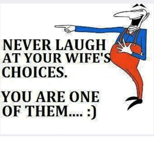 """Never Laugh At Your Wifes Choices: NEVER LAUGH  AT YOUR WIFE""""  CHOICES.  YOU ARE ONE  OF THEM...."""