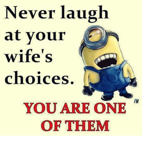 Never Laugh At Your Wifes Choices: Never laugh  at your  wife's  choices  YOU ARE ONE  OF THEM