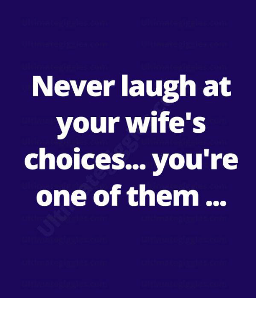 Never Laugh At Your Wifes Choices: Never laugh at  your wife's  choices... you're  one of them