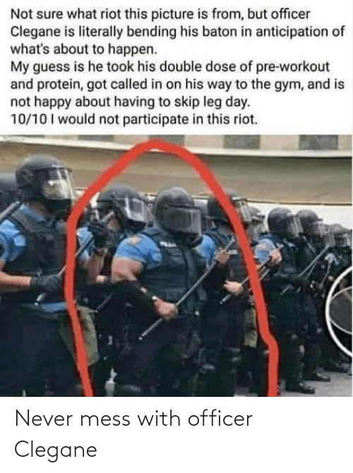 officer: Never mess with officer Clegane