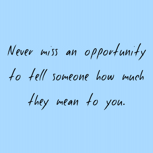 Mean, Opportunity, and Never: Never miss an opportunity  fo tell someone how much  they mean to yon.