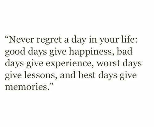 """Bad, Life, and Regret: """"Never regret a day in your life:  good days give happiness, bad  days give experience, worst days  give lessons, and best days give  memories."""""""