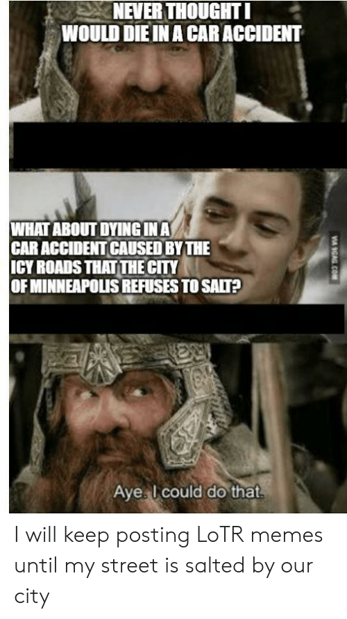 Lotr Memes: NEVER THOUGHT I  WOULD DIE IN A CAR ACCIDENT  WHAT ABOUT DYINGINA  CAR ACCIDENT CAUSED BY THE  ICY ROADS THAT THE CITY  OF MINNEAPOLIS REFUSES TO SALT?  Aye I could do that  V GAG.COM I will keep posting LoTR memes until my street is salted by our city