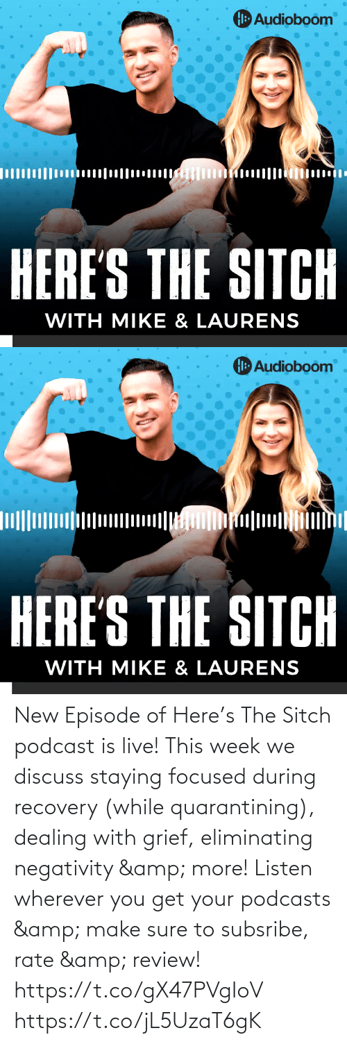 Negativity: New Episode of Here's The Sitch podcast is live!  This week we discuss staying focused during recovery (while quarantining), dealing with grief, eliminating negativity & more!  Listen wherever you get your podcasts & make sure to subsribe, rate & review!   https://t.co/gX47PVgIoV https://t.co/jL5UzaT6gK
