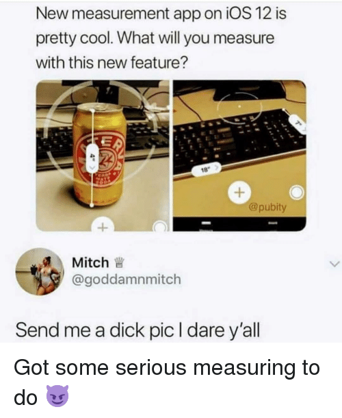 measurement: New measurement app on iOS 12 is  pretty cool. What will you measure  with this new feature?  18  @pubity  1  Mitch  @goddamnmitch  Send me a dick pic l dare y'all Got some serious measuring to do 😈