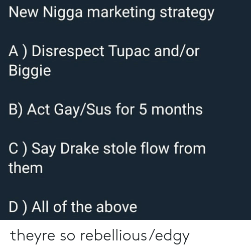 Rebellious: New Nigga marketing strategy  A) Disrespect Tupac and/or  Biggie  B) Act Gay/Sus for 5 months  C) Say Drake stole flow from  them  D ) All of the above theyre so rebellious/edgy