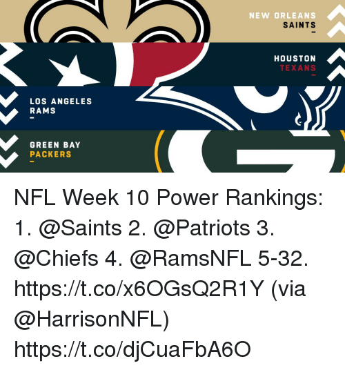 Green Bay Packers, Los Angeles Rams, and Memes: NEW ORLEANS  SAINTS  HOUSTON  TEXANS  LOS ANGELES  RAMS  GREEN BAY  PACKERS NFL Week 10 Power Rankings:  1.  @Saints  2.  @Patriots  3.  @Chiefs  4. @RamsNFL 5-32. https://t.co/x6OGsQ2R1Y (via @HarrisonNFL) https://t.co/djCuaFbA6O