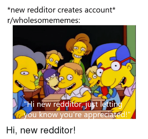 """Account, New, and Youre: *new redditor creates account*  r/wholesomememes  6  Hi new redditor ust lettin  ou know you're appreciated!"""" Hi, new redditor!"""