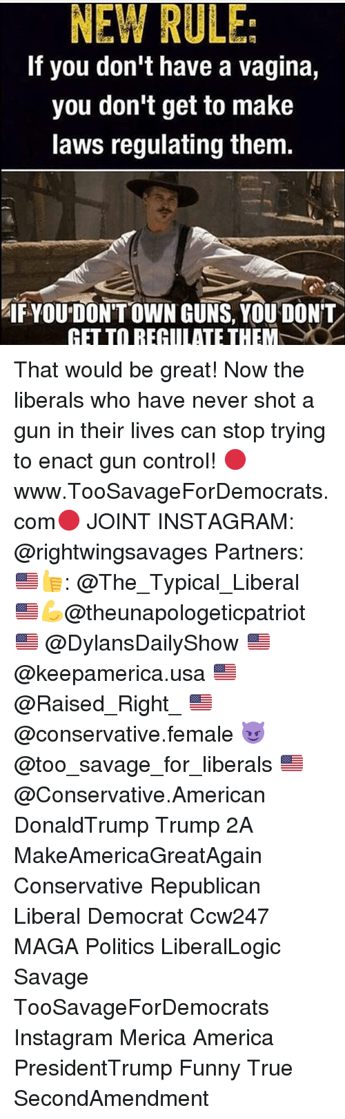 America, Funny, and Guns: NEW RULE  If you don't have a vagina,  you don't get to make  laws regulating them.  IF YOU DON'T OWN GUNS, YOU DON'T  GET TO REGULATE THEM  C That would be great! Now the liberals who have never shot a gun in their lives can stop trying to enact gun control! 🔴www.TooSavageForDemocrats.com🔴 JOINT INSTAGRAM: @rightwingsavages Partners: 🇺🇸👍: @The_Typical_Liberal 🇺🇸💪@theunapologeticpatriot 🇺🇸 @DylansDailyShow 🇺🇸 @keepamerica.usa 🇺🇸@Raised_Right_ 🇺🇸@conservative.female 😈 @too_savage_for_liberals 🇺🇸 @Conservative.American DonaldTrump Trump 2A MakeAmericaGreatAgain Conservative Republican Liberal Democrat Ccw247 MAGA Politics LiberalLogic Savage TooSavageForDemocrats Instagram Merica America PresidentTrump Funny True SecondAmendment