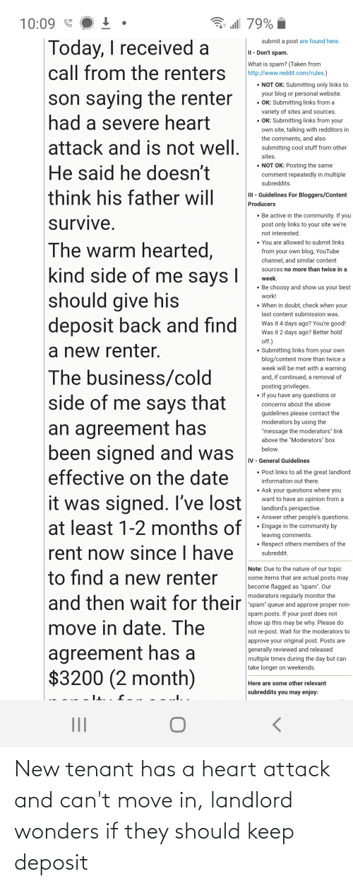 move: New tenant has a heart attack and can't move in, landlord wonders if they should keep deposit