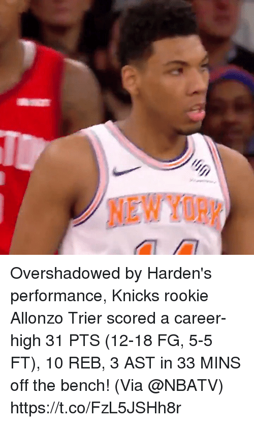 New York Knicks, Memes, and 🤖: NEW YOR Overshadowed by Harden's performance, Knicks rookie Allonzo Trier scored a career-high 31 PTS (12-18 FG, 5-5 FT), 10 REB, 3 AST in 33 MINS off the bench!  (Via @NBATV) https://t.co/FzL5JSHh8r