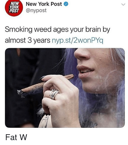 Poste: NEW  YORK  POST  New York Poste  @nypost  Smoking weed ages your brain by  almost 3 years nyp.st/2wonPYo Fat W