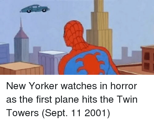 twin towers: New Yorker watches in horror as the first plane hits the Twin Towers (Sept. 11 2001)