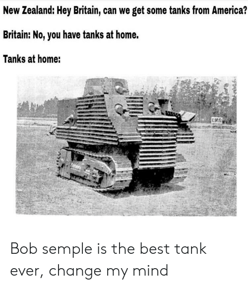 New Zealand: New Zealand: Hey Britain, can we get some tanks from America?  Britain: No, you have tanks at home.  Tanks at home: Bob semple is the best tank ever, change my mind