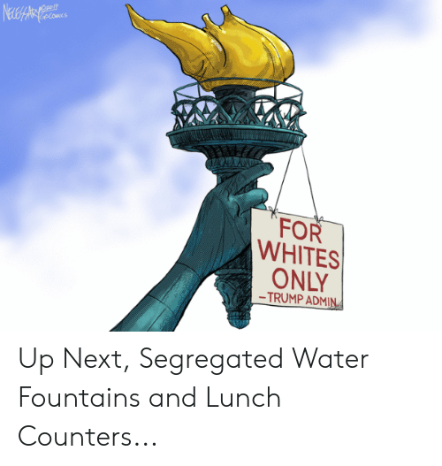 Trump, Water, and Next: NeweHaArat ccomes  FOR  WHITES  ONLY  -TRUMP ADMIN Up Next, Segregated Water Fountains and Lunch Counters...