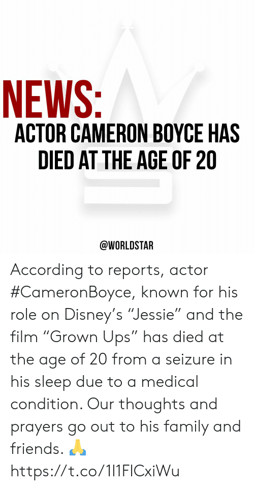 """Disney, Family, and Friends: NEWS:  ACTOR CAMERON BOYCE HAS  DIED AT THE AGE OF 20  @WORLDSTAR According to reports, actor #CameronBoyce, known for his role on Disney's """"Jessie"""" and the film """"Grown Ups"""" has died at the age of 20 from a seizure in his sleep due to a medical condition. Our thoughts and prayers go out to his family and friends. 🙏 https://t.co/1I1FICxiWu"""