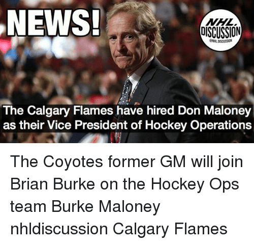Hockey, Memes, and News: NEWS!  NHL  DISCUSSION  The Calgary Flames have hired Don Maloney  as their Vice President of Hockey Operations The Coyotes former GM will join Brian Burke on the Hockey Ops team Burke Maloney nhldiscussion Calgary Flames