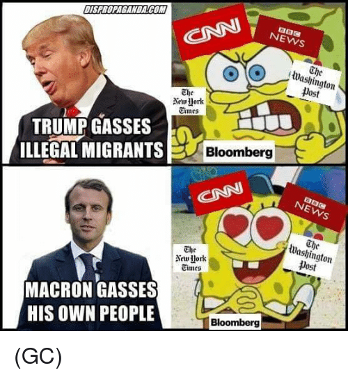 Memes, News, and Trump: NEWS  The  lWashington  post  The  Aework  Cimes  TRUMP GASSES  ILLEGAL MIGRANTS  Bloomberg  Washington  Dost  The  Times  MACRON GASSES  HIS OWN PEOPLE  Bloomberg (GC)