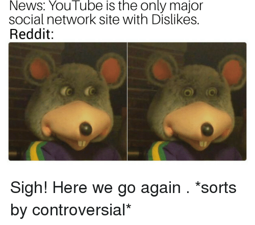 News, Reddit, and youtube.com: News: YouTube is the only major  social network site with Dislikes.  Reddit: Sigh! Here we go again . *sorts by controversial*