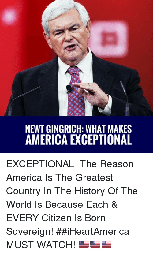 America, Memes, and History: NEWT GINGRICH: WHAT MAKES  AMERICA EXCEPTIONAL EXCEPTIONAL! The Reason America Is The Greatest Country In The History Of The World Is Because Each & EVERY Citizen Is Born Sovereign! ##iHeartAmerica   MUST WATCH! 🇺🇸🇺🇸🇺🇸