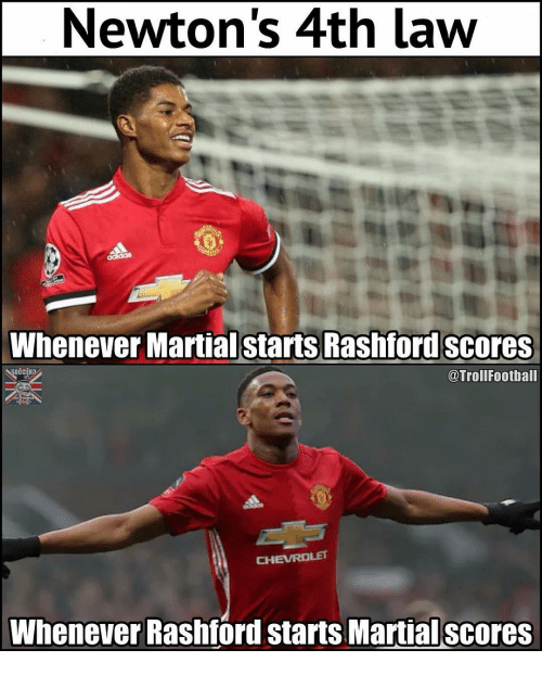 Memes, Chevrolet, and Martial: Newton's 4th law  Whenever Martial starts Rashford scores  @TrollFootball  CHEVROLET  Whenever Rashford starts Martial scores