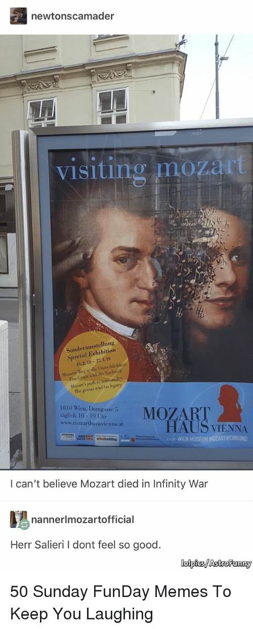 Sunday Funday: newtonscamader  visiting mozart  Sonderausstellung  Special Exhibition  16.2.18 27.1.19  Mozarts Weg in die Unsterblichkeit.  Mozart's path to immortality.  The genius and his legacy  1010 Wien, Domgasse 5  täglich 10-19 Uhr  www.mozarthausvienna.at  HAUS VIENNA  mit WIEN MUSEUM MOZARTWOHNUNG  tecrichische  I can't believe Mozart died in Infinity War  nannerlmozartofficial  Herr Salieri I dont feel so good.  lolpics/AstroFunny 50 Sunday FunDay Memes To Keep You Laughing