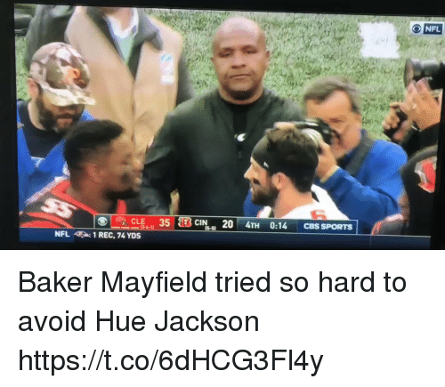 Nfl, Hue Jackson, and Rec: NFL  1 REC, 74 YDS Baker Mayfield tried so hard to avoid Hue Jackson   https://t.co/6dHCG3Fl4y