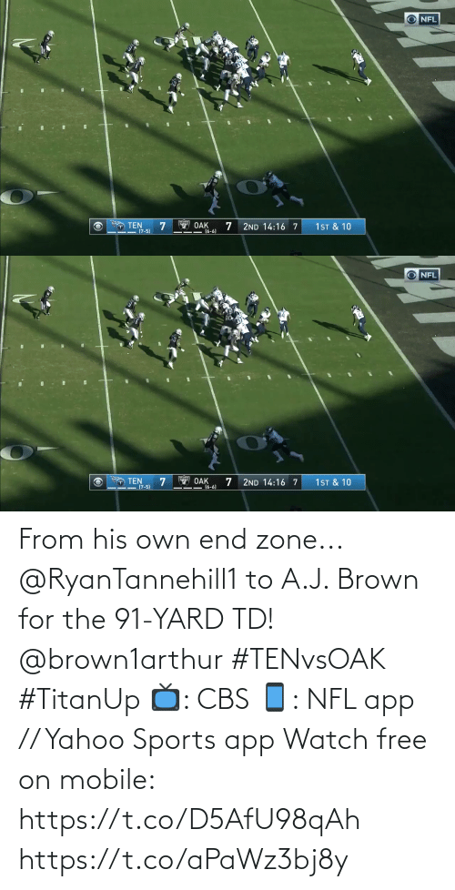 Memes, Nfl, and Sports: NFL  14  T TEN  (7-5)  OAK  (6-6)  1ST & 10  2ND 14:16 7   NFL  14  O TEN  (7-5)  Y OAK  16-6)  1 ST & 10  2ND 14:16 7 From his own end zone...  @RyanTannehill1 to A.J. Brown for the 91-YARD TD! @brown1arthur #TENvsOAK #TitanUp  📺: CBS 📱: NFL app // Yahoo Sports app Watch free on mobile: https://t.co/D5AfU98qAh https://t.co/aPaWz3bj8y