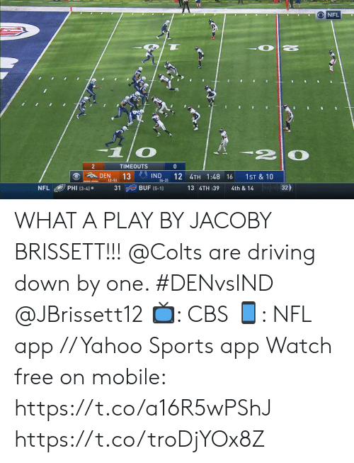 phi: NFL  2  TIMEOUTS  0  IND  14-2)  DEN  13  (2-5)  12 4TH 1:48 16  1ST & 10  32  PHI (3-4)  BUF (5-1)  NFL  31  13 4TH :39  4th & 14 WHAT A PLAY BY JACOBY BRISSETT!!!  @Colts are driving down by one. #DENvsIND @JBrissett12  📺: CBS 📱: NFL app // Yahoo Sports app Watch free on mobile: https://t.co/a16R5wPShJ https://t.co/troDjYOx8Z