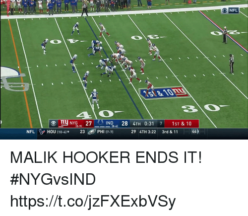 Andrew Bogut, Hookers, and Memes: NFL  31  -R-IND-6)  4TH 0:31  29 4TH 3:22 3rd & 1144  1ST & 10  ⓔThy NY15-9)  27  28  7  NFLHOU 110-4] 3PHI (7-7) MALIK HOOKER ENDS IT! #NYGvsIND https://t.co/jzFXExbVSy