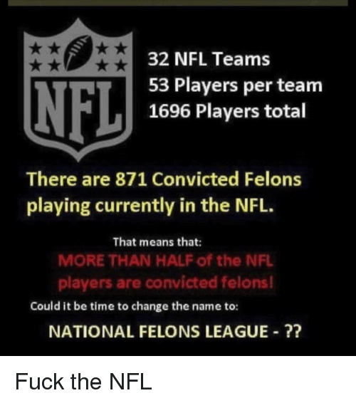 nfl players: NFL  32 NFL Teams  53 Players per teanm  1696 Players total  There are 871 Convicted Felons  playing currently in the NFL.  That means that:  MORE THAN HALF of the NFL  players are convicted felons!  Could it be time to change the name to:  NATIONAL FELONS LEAGUE ? Fuck the NFL