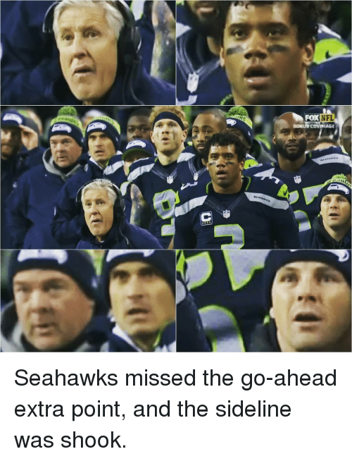 Memes, Nfl, and Seahawks: NFL  BONUS COVERAGE Seahawks missed the go-ahead extra point, and the sideline was shook.