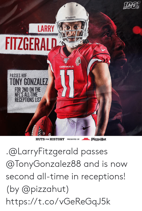 Cardinals: NFL  CARDINALS  LARRY  FITZGERALD  CARDINALS  31  PASSES HOF  TONY GONZALEZ  FOR 2ND ON THE  NFL'S ALL-TIME  RECEPTIONS LIST  Pizza Hut  HUTS FOR  HISTORY  PRESENTED BY .@LarryFitzgerald passes @TonyGonzalez88 and is now second all-time in receptions! (by @pizzahut) https://t.co/vGeReGqJ5k