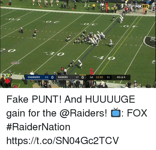 Fake, Memes, and Nfl: NFL  CHARGERS 6-2 O RAIDERS  17 0 1st 12:33 11 4th& 4  82 Fake PUNT!  And HUUUUGE gain for the @Raiders!  📺: FOX #RaiderNation https://t.co/SN04Gc2TCV