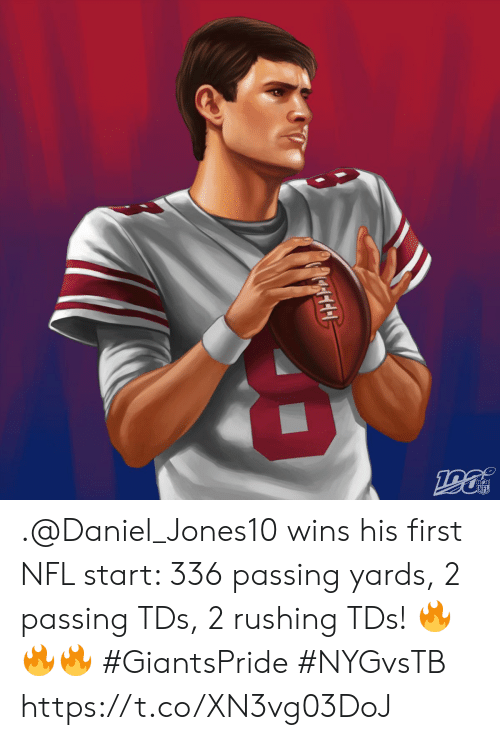 daniel: NFL .@Daniel_Jones10 wins his first NFL start: 336 passing yards, 2 passing TDs, 2 rushing TDs! ???  #GiantsPride #NYGvsTB https://t.co/XN3vg03DoJ