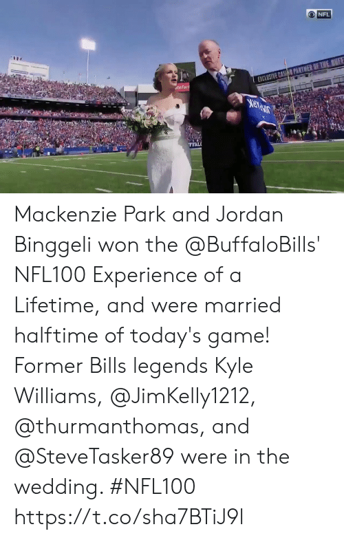 Memes, Nfl, and Game: NFL  EXCLUSIVE CASHO PARTMER OF THE BNFF  ateFarn  FFAL Mackenzie Park and Jordan Binggeli won the @BuffaloBills' NFL100 Experience of a Lifetime, and were married halftime of today's game! Former Bills legends Kyle Williams, @JimKelly1212, @thurmanthomas, and @SteveTasker89 were in the wedding.   #NFL100 https://t.co/sha7BTiJ9l